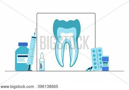 Dental Clinic Care Logo. Stomatology, Toothcare Concept. Tooth Anatomy Poster Isolated Flat Vector I