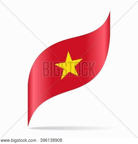Vietnamese Flag Wavy Abstract Background. Vector Illustration.