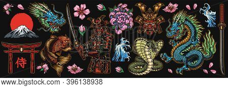 Japanese Traditional Colorful Elements Set With Dragon Samurai Katanas Torii Gate Koi Fish Fujiyama