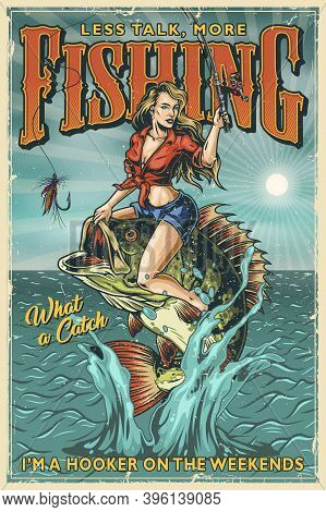 Fishing Vintage Colorful Poster With Pretty Woman Holding Fishing Rod And Sitting On Big Perch Which