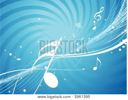 Musical Wave Line Of Musical Notes