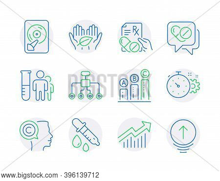 Science Icons Set. Included Icon As Medical Analyzes, Graph Chart, Restructuring Signs. Writer, Medi