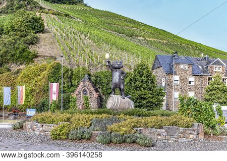 Zell, Germany - July 25, 2020: Scenic View To Village Of Zell At The Moselle Valley With Symbol Blac