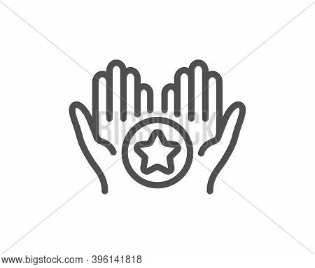 Favorite Line Icon. Best Ranking Stars Sign. Rating Symbol. Quality Design Element. Linear Style Fav