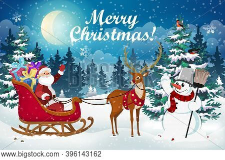 Christmas Scene With Santa Claus In A Sleigh With Gifts, A Deer And A Snowman Against The Background