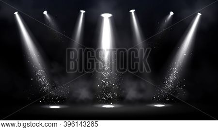 Stage Illuminated By Spotlights. Empty Scene With Spot Of Light On Floor. Vector Realistic Illustrat