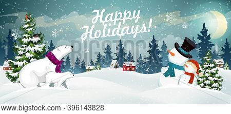 Snow Covered Hills, Houses, Snowmen And Polar Bears With Christmas Tree. Winter Christmas Landscape