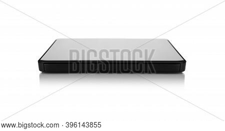 External Modern Hard Drive Or Drive Cd-rom Usb Isolated On A White Background.