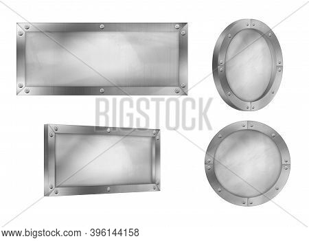 Metal Signs, Steel Boards With Rivets On Frame Isolated On White Background. Vector Realistic Set Of