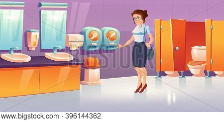 Woman In Public Toilet With Tampon And Pads Vending Machines. Vector Cartoon Interior Of Restroom, L