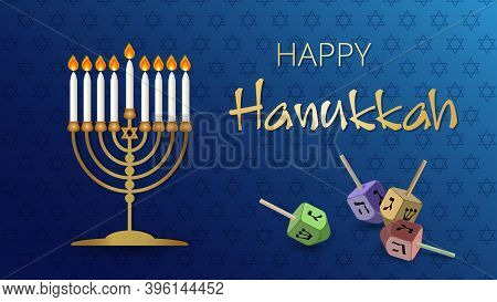 Hanukkah Shining Background With Menorah, David Star And Dreidels. Happy Hanukkah Background. Tradit