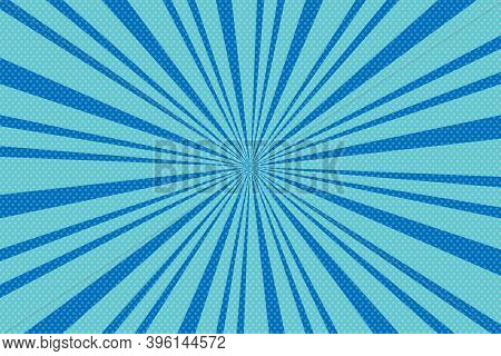 Pop Art Blue Background With Radial Lines.  Background With Halftones For Comics. Textured Backgroun