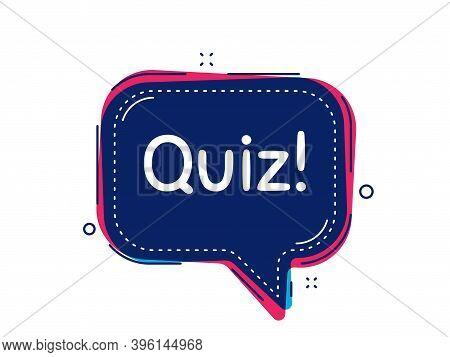 Quiz Symbol. Thought Bubble Vector Banner. Answer Question Sign. Examination Test. Dialogue Or Thoug