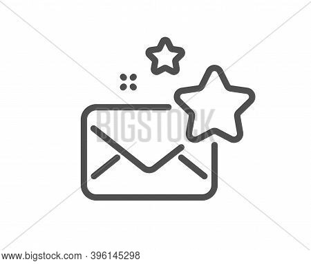 Favorite Mail Line Icon. Letter With Stars Sign. Best Email Symbol. Quality Design Element. Linear S