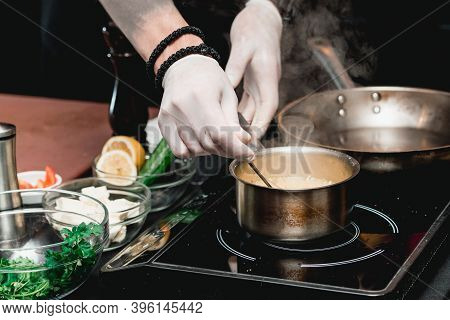Hands Of Chef Making Healthy Fresh Fajitas Or Fajitos With Beef. Easy, But Tasty, Healthy. National