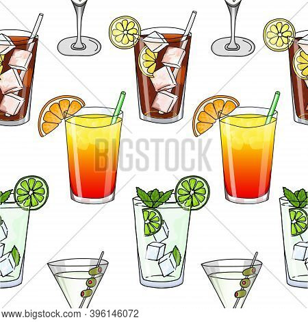 Seamless Pattern Of Glass Of Mojito, Long Island Ice Tea, Dry Martini Cocktail And Sex On The Beach