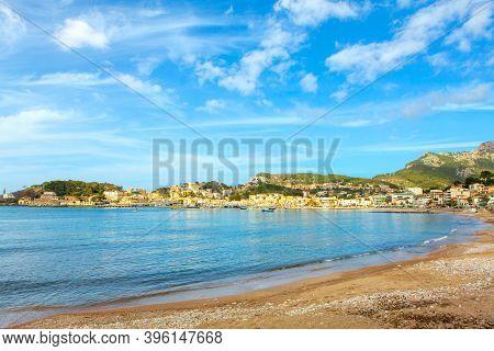 Port De Soller Bay Scenery Of Mallorca . Balearic Islands Coast