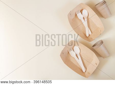 Zero Waste Tableware, Plastic Free Concept, Biodegradable Paper Plate, Cutlery, Cup On Beige Backgro