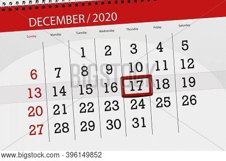 Calendar Planner For The Month December 2020, Deadline Day, 17, Thursday