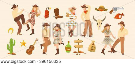 Vector Illustration Set Of M Cowboy And Cowgirls Dancing. Western Clip Art For Creating A Cover Desi