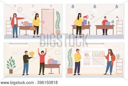 Set Of Rude And Pleasant Attitude In Business Team Illustrations. Concept Of Behavioural Comparison