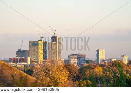 Woking, Surrey, Uk - 4th November 2020: A View Of The Woking Town Centre Skyline During The Extensiv