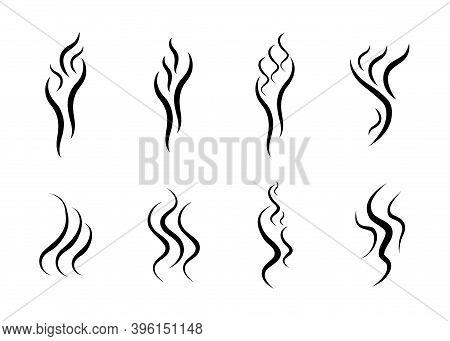 Set Of Smoke, Aroma, Smells Icons. Symbols, Logos Cooking Steam Odour, Fume Of Flame, Stink, Vapor I