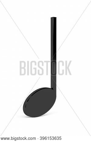 3d Quarter Note Music Sign Isolated On A White Background - 3d Render