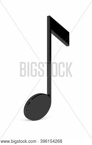 3d Eight Note Isolated On White Background - 3d Render