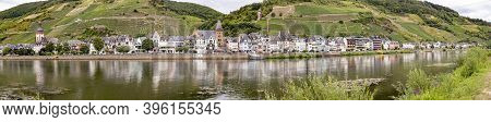 Zell, Germany - July 25, 2020: Scenic View To Village Of Zell At The Moselle Valley.