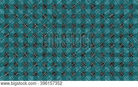 Green Black Blue Turquoise Vintage Checkered Background With Blur, Gradient And Grunge Texture. Clas