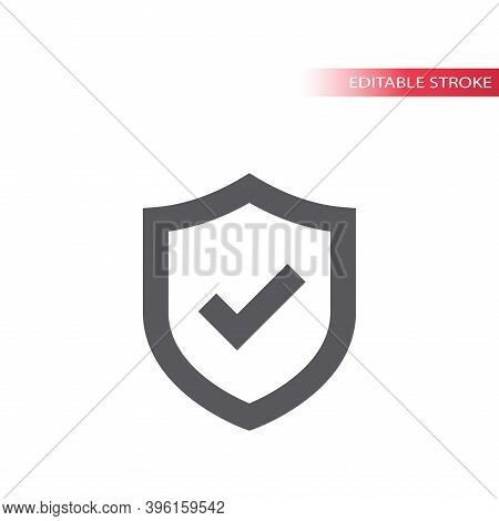 Shield And Tick Or Check Mark Vector Icon. Safety, Security Concept Line Symbol With Checkmark, Edit