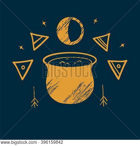 The Witchs Cauldron And Witch Signs. Illustration Of Magic. Creating A Potion. Occultism. Performing