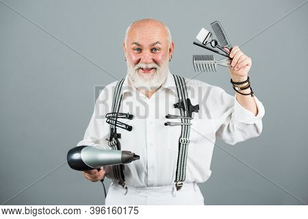 Senior Bearded Man, Bearded Old Male. Portrait Of Vintage Barber. Barber Scissors And Straight Razor