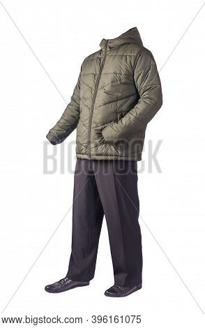 Mens Hakki Jacket With A Hood , Black Pants And Black Leather Shoes Isolated On White Background. Me