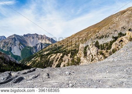 Alpine Landscape Of The French Alps, Brunissard In The Provence Alpes, Col D Izoard, France In Europ