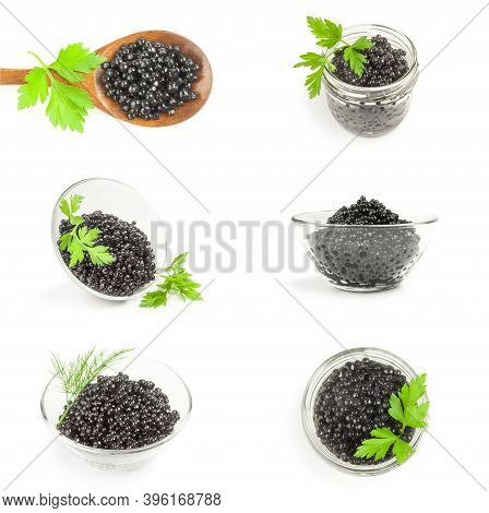 Collage Of Black Fish Eggs Isolated On A White Background Cutout