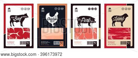 Vector Meat Packaging. Meat Textures. Farm Animal Silhouettes