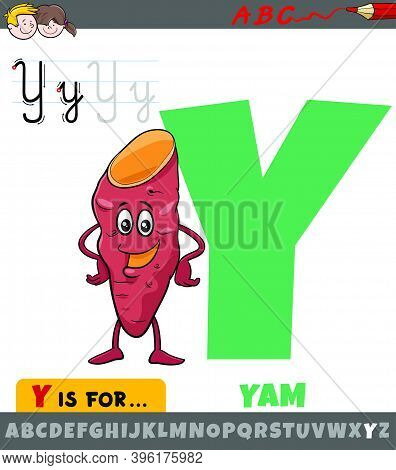 Educational Cartoon Illustration Of Letter Y From Alphabet With Yam Vegetable For Children