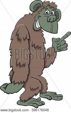 Cartoon Illustration Of Gorilla Ape Comic Animal Character