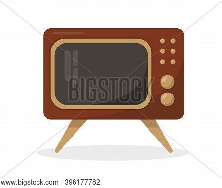 Retro Tv. Vintage Television Isolated On White Background. Old Tv Vector Icons Illustration.