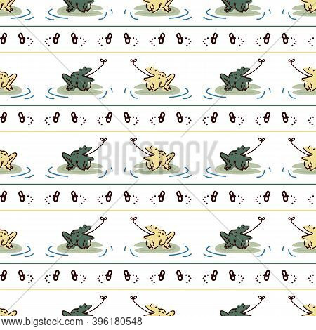 Cute Frog On Lily Pad With Fly Vector Pattern. Wildlife Pond Amphibian Home Decor With Cartoon Lake