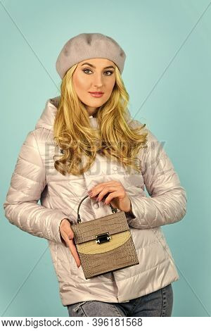 I Love It. Autumn Trendy Outfit Woman In Stylish Beret. Leather Handbag. Beauty And Fashion. Stylish