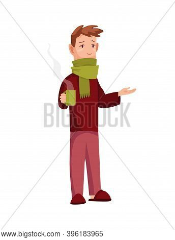 Flu Cold. Flu Or Common Cold Treatment At Home. Man With Cup In Hand. Season Allergy. Allergy Sick O