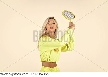 Dedicated To Fitness. Female Tennis Player Isolated On White. Girl With Tennis Racket. Active Playin
