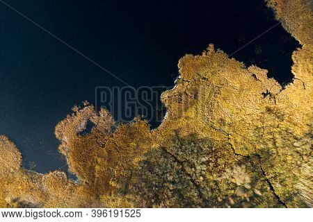 Abstract Nature Background. Autumn Riverside Top Down View. Aerial Landscape.