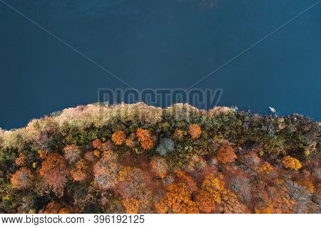 Autumn Riverside From Above. Trees With Colorful Leaves At The River. Autumn Background. Fall Nature