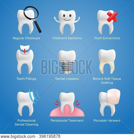 Dental Icons Vector Set With Different Elements For Various Website Services - Dentistry, Restorativ
