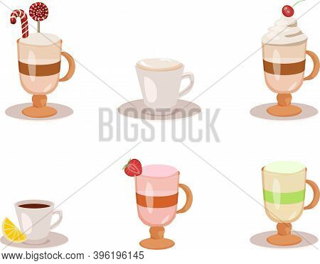 Set Of Coffee Types And Packages. Coffee Menu Vector Illustration. Preparation Of Beverages. Collect