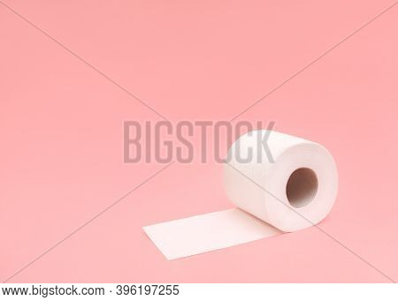 Toilet Paper Roll Photo In Minimal Style With Copy Space  One Soft Toilet Paper Unrolled Roll On Lig